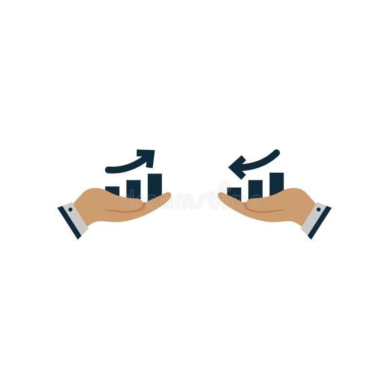 graf med pilen upp eller ner i hand color vektorn f?r det set symbolet f?r flamman royaltyfri illustrationer