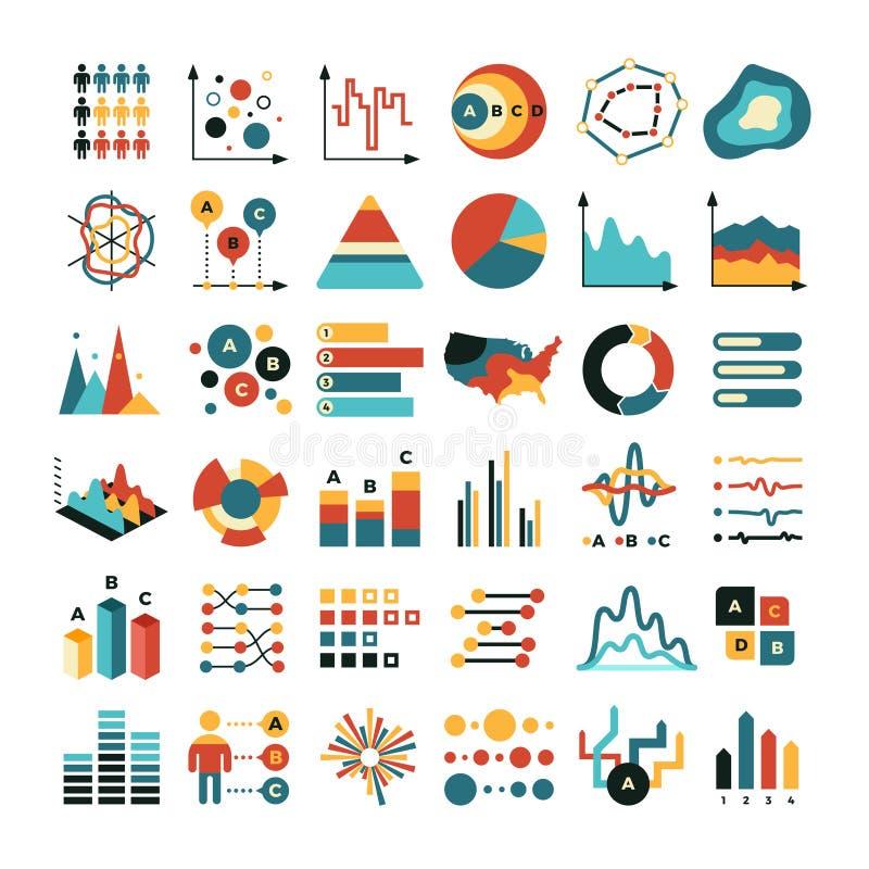 Graf och diagram för affärsdata Symboler för lägenhet för marknadsföringsstatistikvektor royaltyfri illustrationer