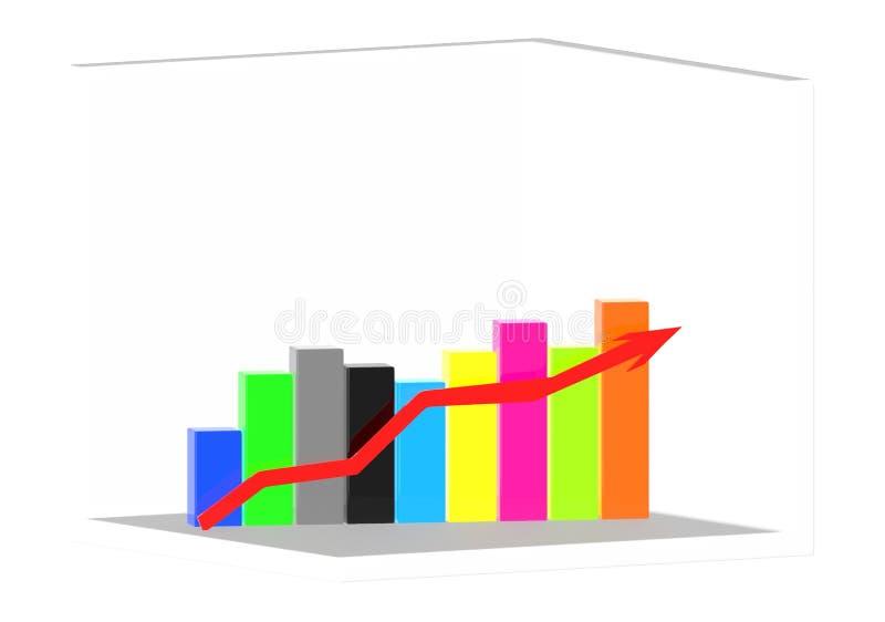 graf och pil för stång 3d stock illustrationer