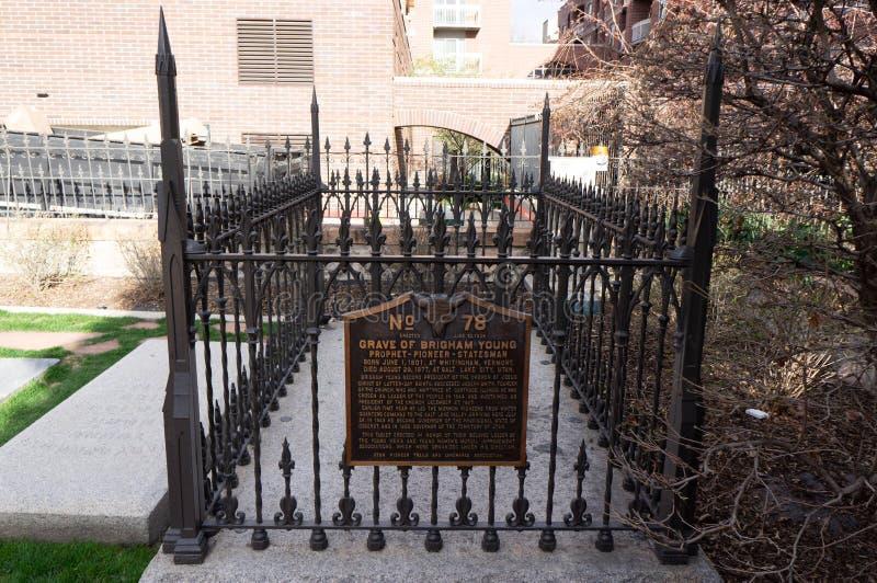 Graf van Brigham Young, voorzitter van LDS, het graf van de Mormoonse kerk stock afbeeldingen
