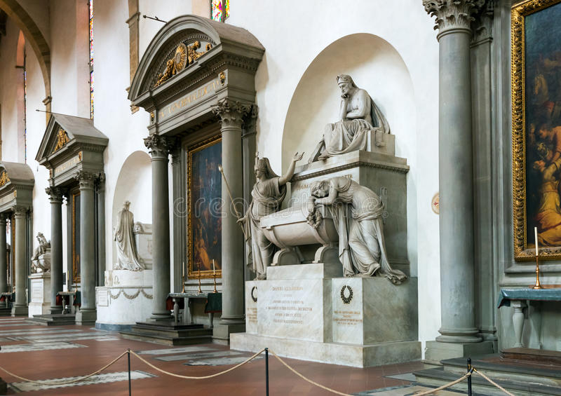 Graf van Dante in de Basiliek van Santa Croce in FL royalty-vrije stock foto