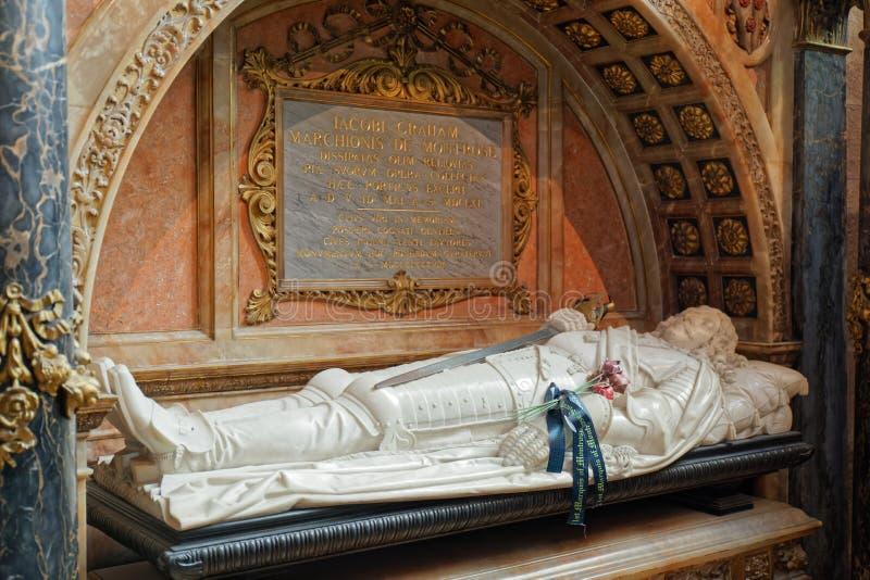 Graf van James Graham, Markies van Montrose - St Giles Cathedral - Edinburgh, Schotland royalty-vrije stock foto's