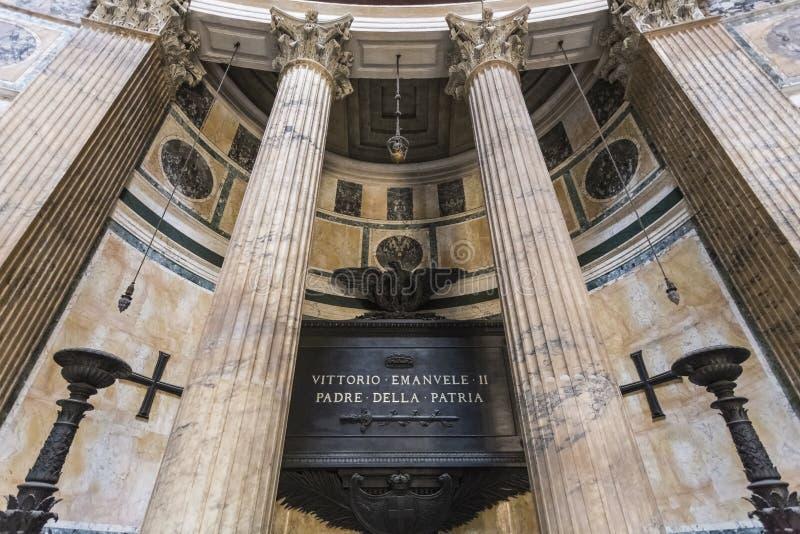 Graf van Vittorio Emmanuel, Pantheon stock afbeelding