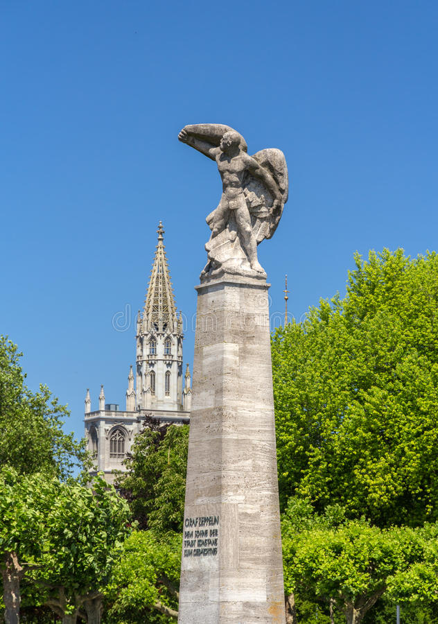 Graf Zeppelin Statue in Konstanz, Germany. Graf Zeppelin Statue in Konstanz - Germany stock photography