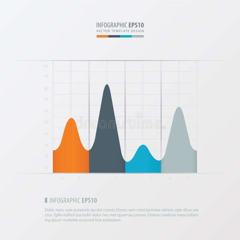 Grafen och den infographic designapelsinen, blått, grå färger färgar stock illustrationer