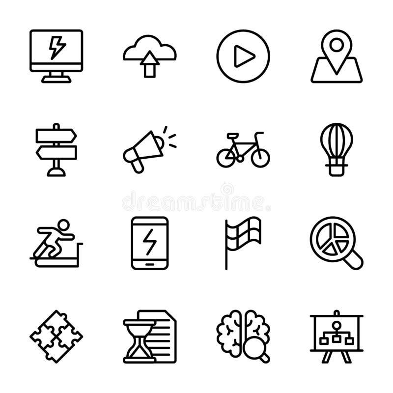Grafen sprintar, ökning, hjärnan, vinstslinjen symboler packar vektor illustrationer