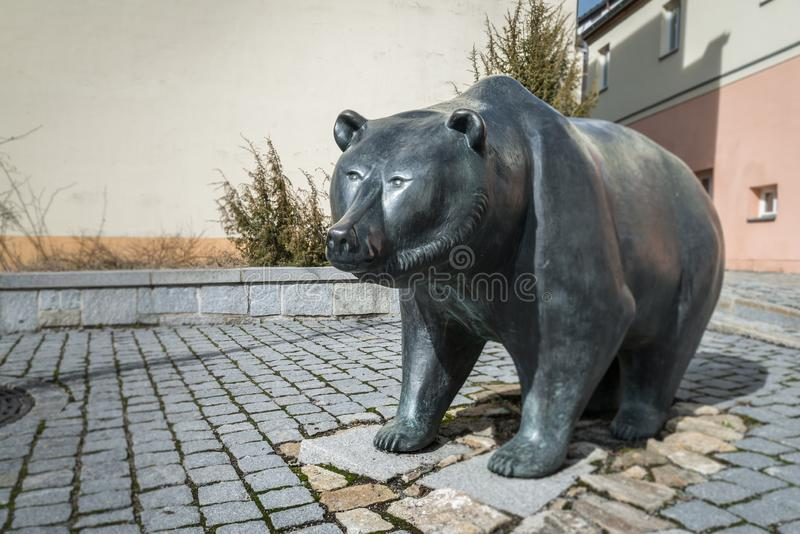 Life size metal sculpture of the heraldic animal of Grafenau, the bear - Germany stock images