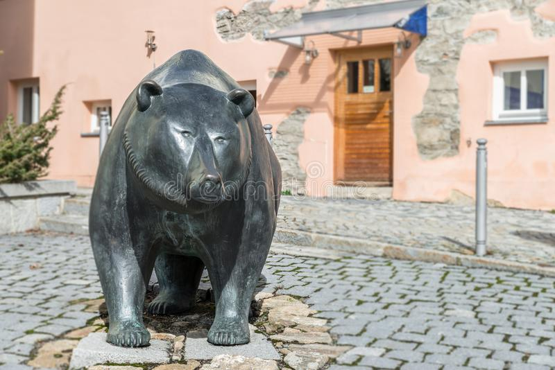 Life size metal sculpture of the heraldic animal of Grafenau, the bear - Germany royalty free stock images