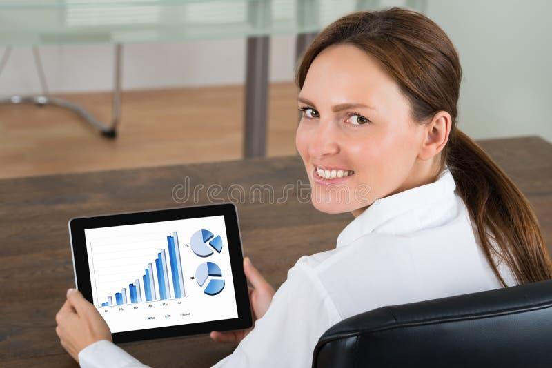 Grafer för affärskvinnaWith Digital Tablet visning arkivbilder