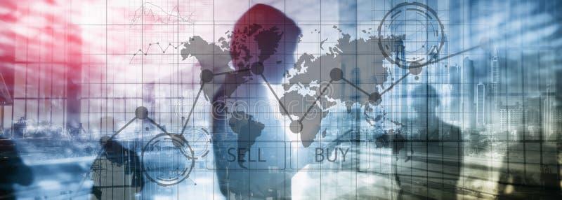 Grafer f?r diagram f?r Forexhandelinvestering finansiella Aff?rs- och teknologibegrepp stock illustrationer