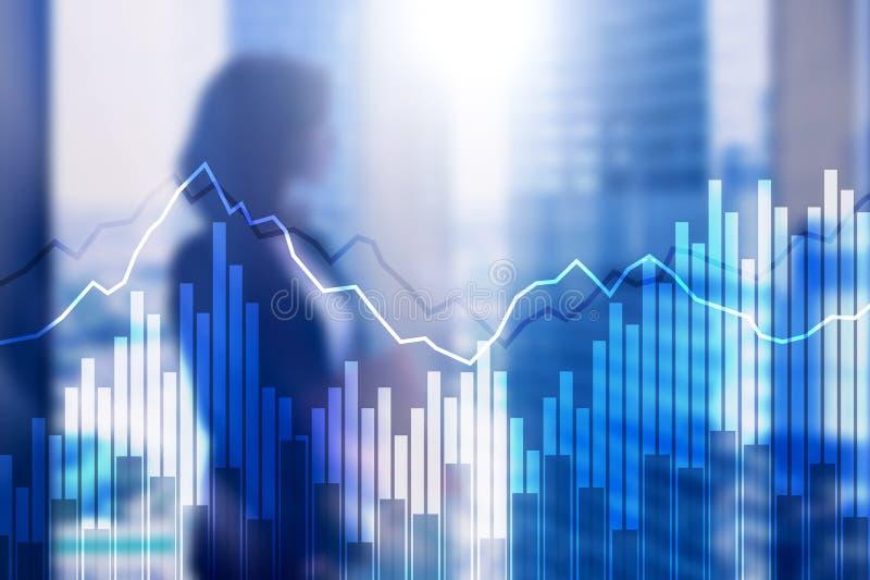 Grafer och diagram för dubbel exponering finansiella Affärs-, nationalekonomi- och investeringbegrepp royaltyfri foto