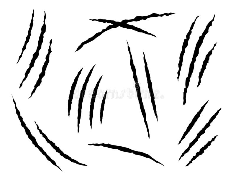 Graffi degli artigli Gli animali pericolosi o della tigre e del gatto dei segni, dell'artiglio graffiano Piste di carta nocive, m royalty illustrazione gratis