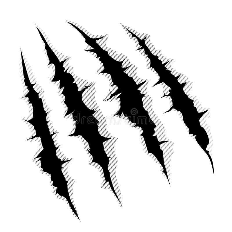 Graffi degli artigli su fondo bianco illustrazione di stock