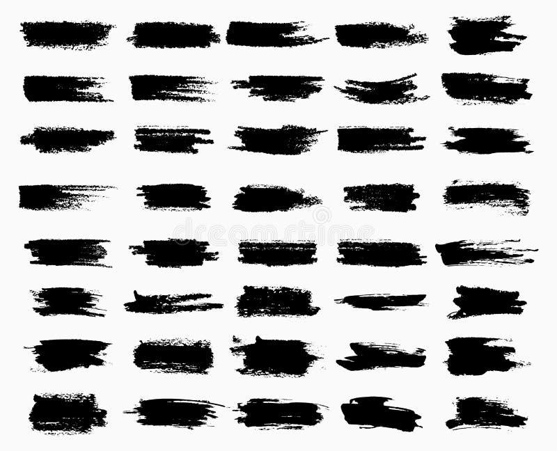 Graffi dell'inchiostro o acquerello neri orizzontali della spazzola royalty illustrazione gratis