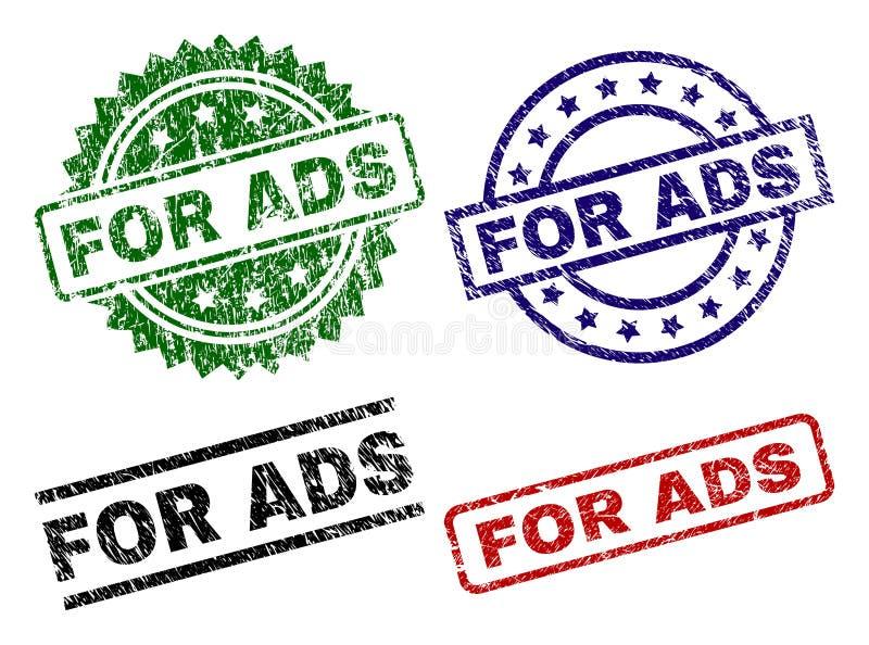 Graffiato strutturato PER i bolli della guarnizione di ADS illustrazione di stock