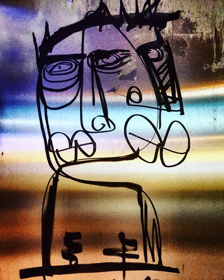 Graffiti étrange de lèvres de visage abstrait grand image stock