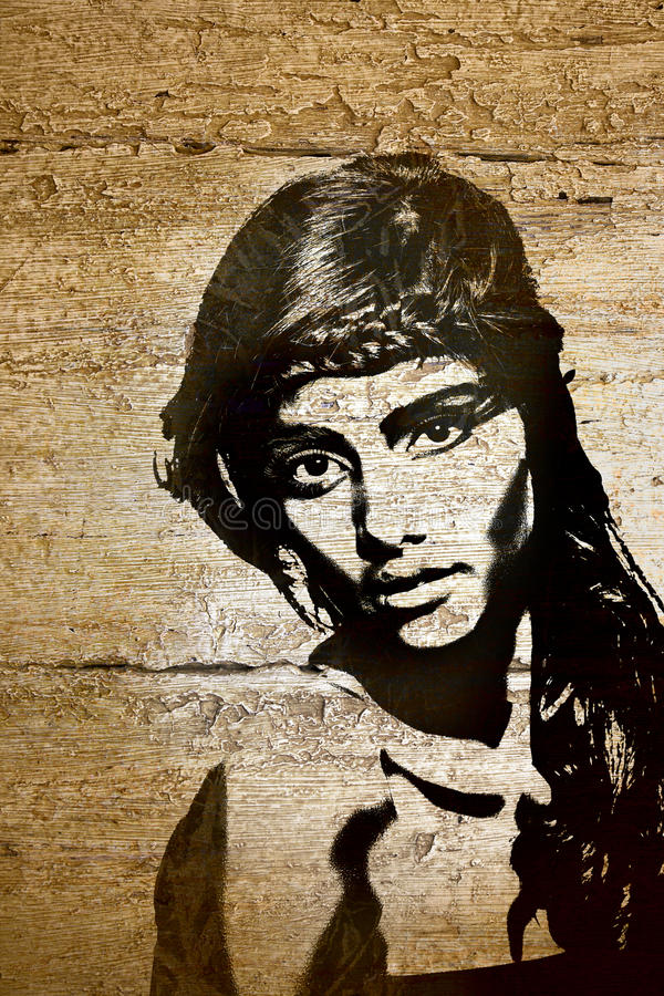 graffiti ścienny kobiety drewno ilustracja wektor