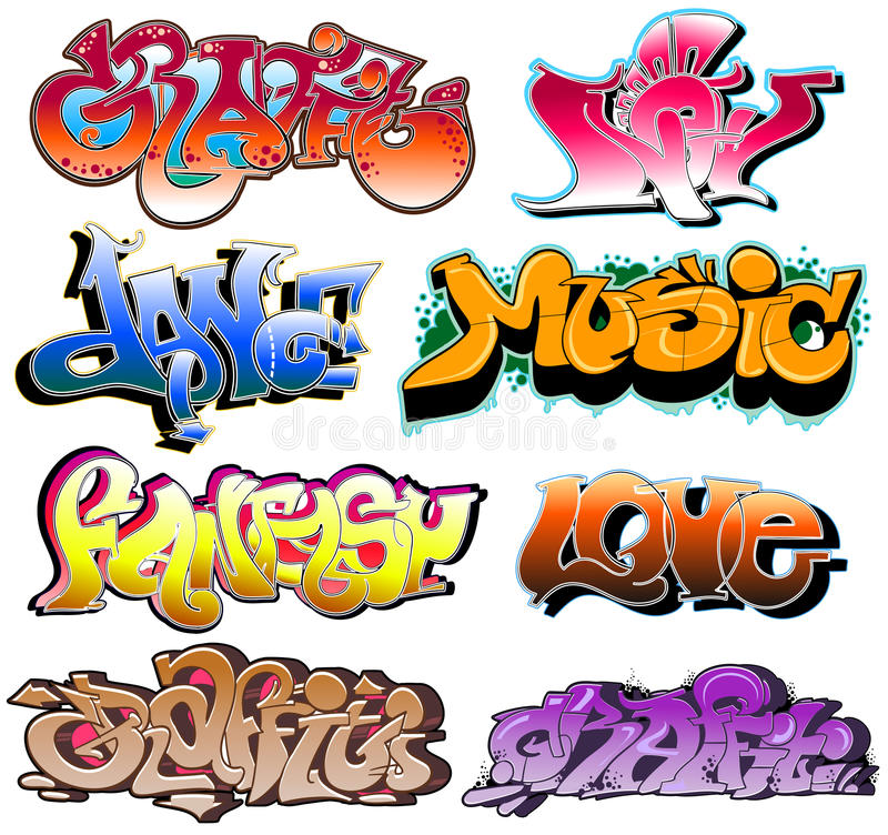 Graffiti. Hip-hop urban collection stock illustration