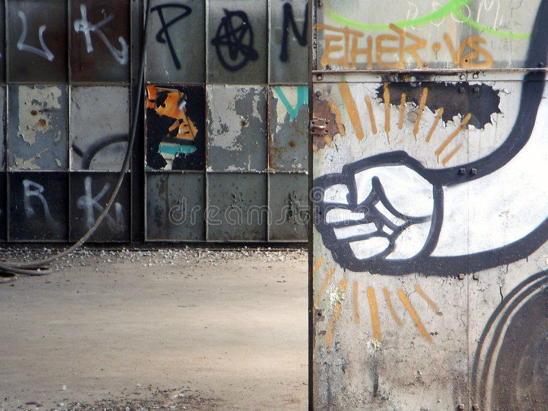 Graffiti in an Abandoned Building stock image