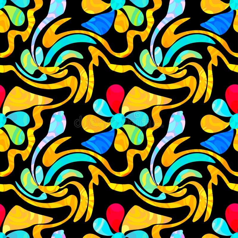 Graffiti abstract flowers on a black background seamless pattern stock illustration