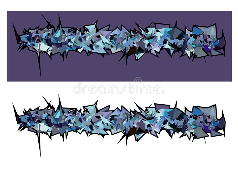 Graffiti abstract purple blue spiked shape pattern on white stock illustration