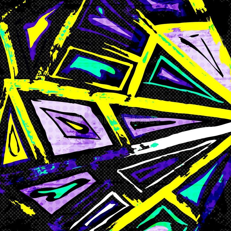 Graffiti abstracte geometrische voorwerpen op een zwarte achtergrond vector illustratie