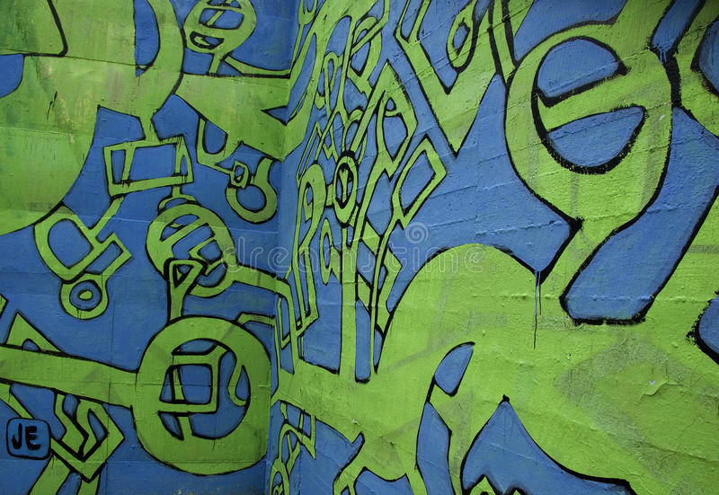 Graffiti abstrait bleu et vert images stock