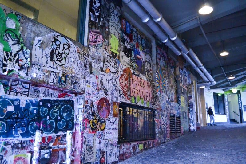 Graffiti al vicolo della posta, Seattle, Washington immagine stock