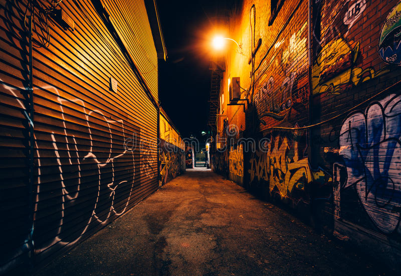 Graffiti Alley at night, in the Fashion District of Toronto, Ont royalty free stock photography