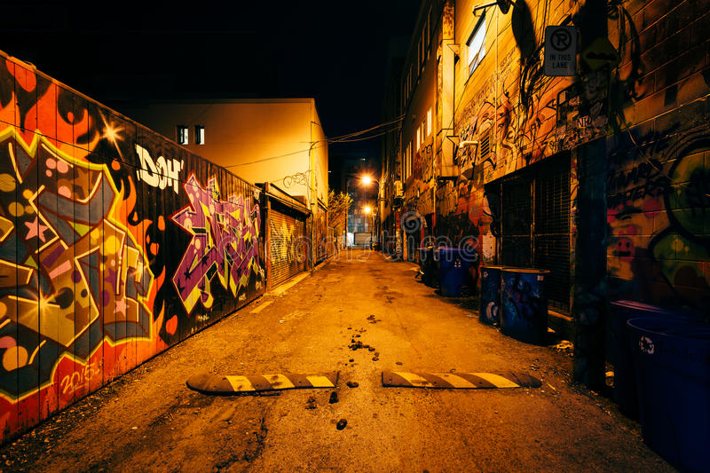 Graffiti Alley at night, in the Fashion District of Toronto, Ont royalty free stock image