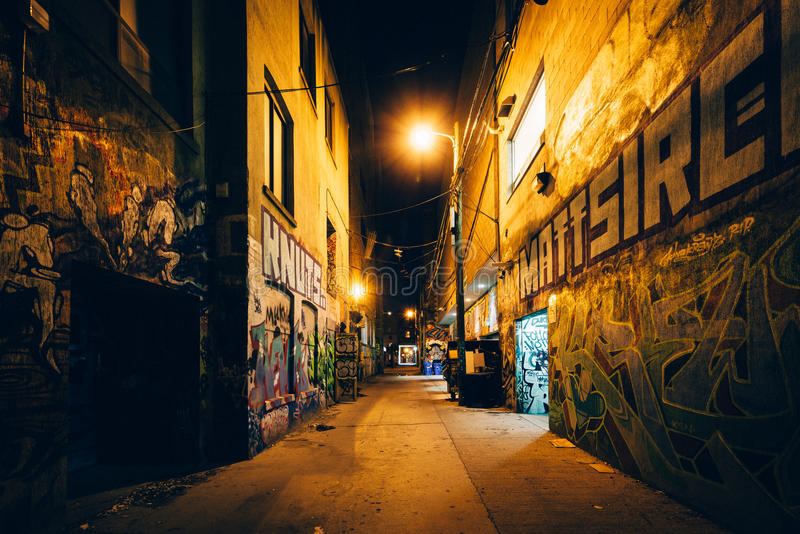 Graffiti Alley at night, in the Fashion District of Toronto, Ont royalty free stock photos