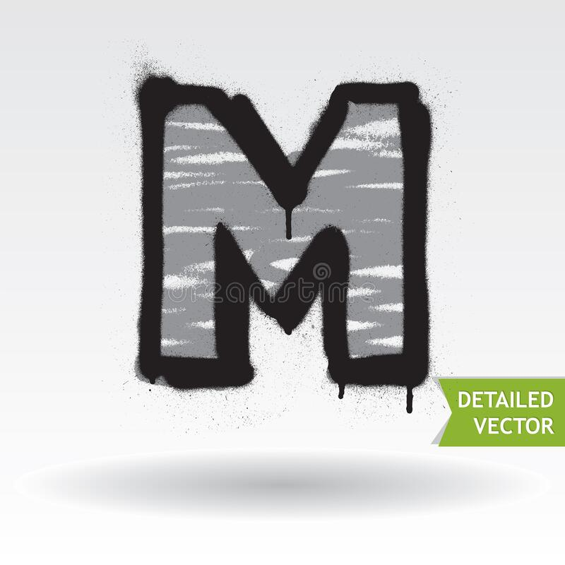 Free Graffiti Alphabet. Letter M. Highly Detailed Vector Font Royalty Free Stock Photo - 168997975