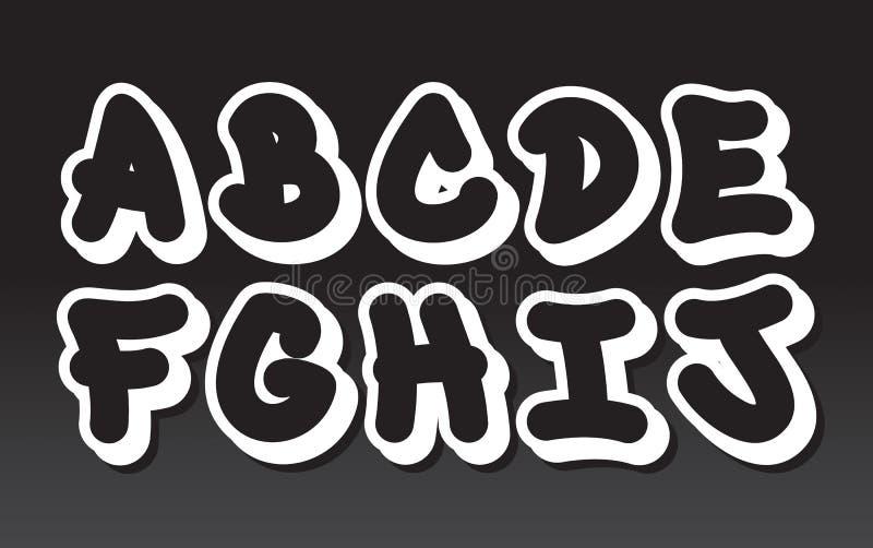Graffiti alphabet (part 1) stock illustration