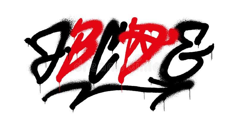 Graffiti alphabet. Set street type calligraphy design alphabet graffiti style tag letters write marker brush ink or aerosol paint spray. Free wildstyle for wall royalty free illustration