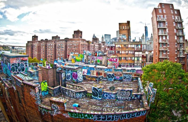 Graffiti. On apartment buildings in New York stock image