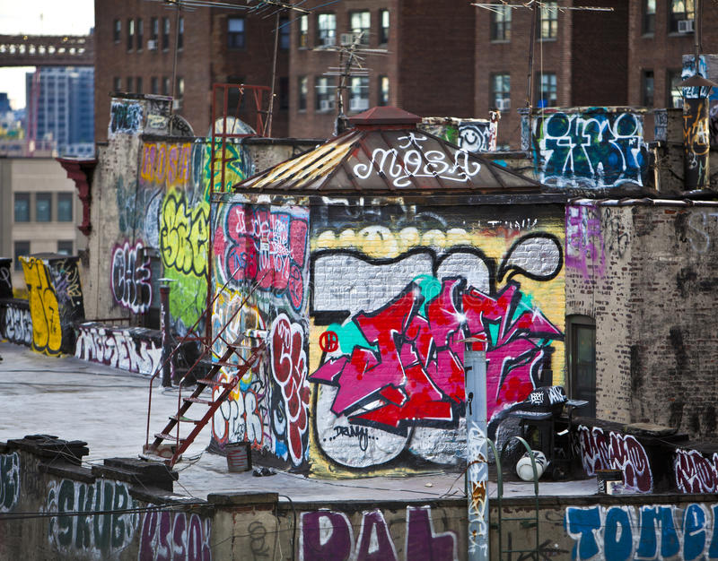 Graffiti. On apartment buildings in New York royalty free stock image