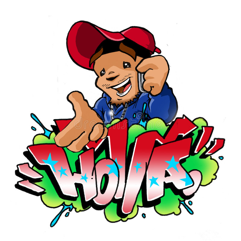Graffiti arrière de téléphone portable de Holla photo libre de droits