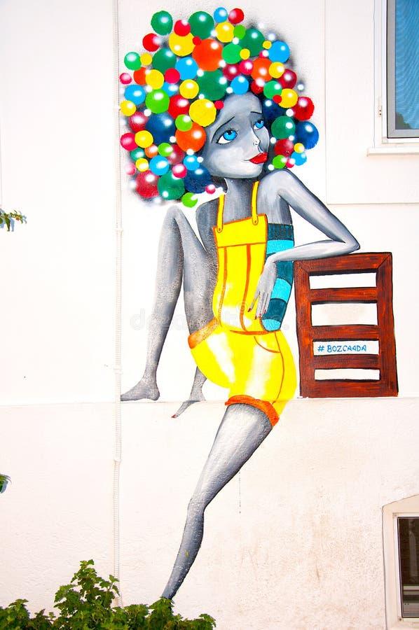 Graffiti art in Bozcaada island royalty free stock image