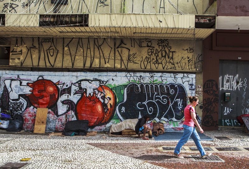 Graffiti Art in Sao Paulo, Brazil. São Paulo is like an open-air museum. This gigantic, crowded, commercially minded city is not on most tourists' itineraries royalty free stock image