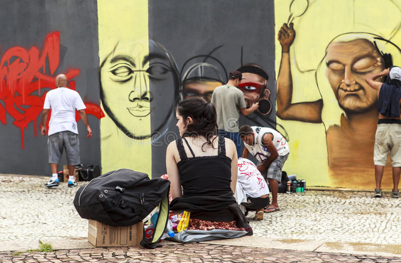 Graffiti Art in Sao Paulo, Brazil. São Paulo is like an open-air museum. This gigantic, crowded, commercially minded city is not on most tourists' itineraries stock photos