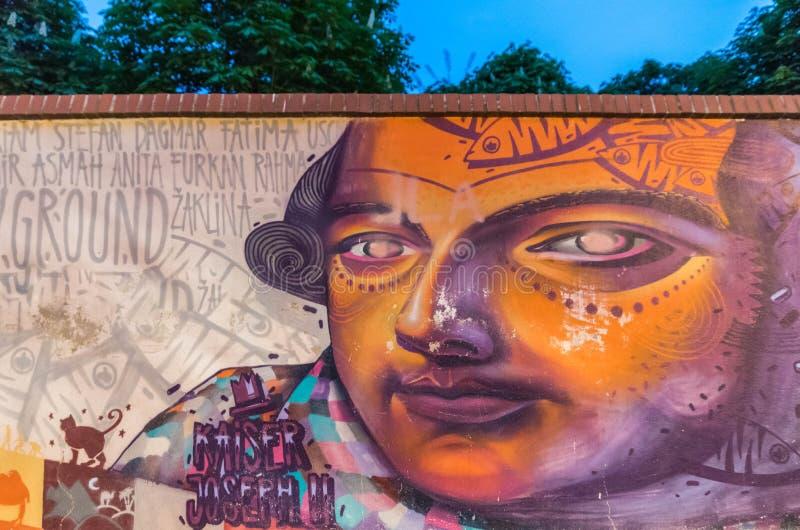 Graffiti art in Vienna. Kaiser Joseph II stock images