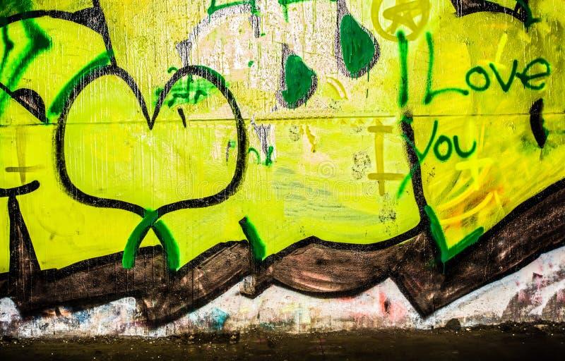Graffiti Background I Love You stock images