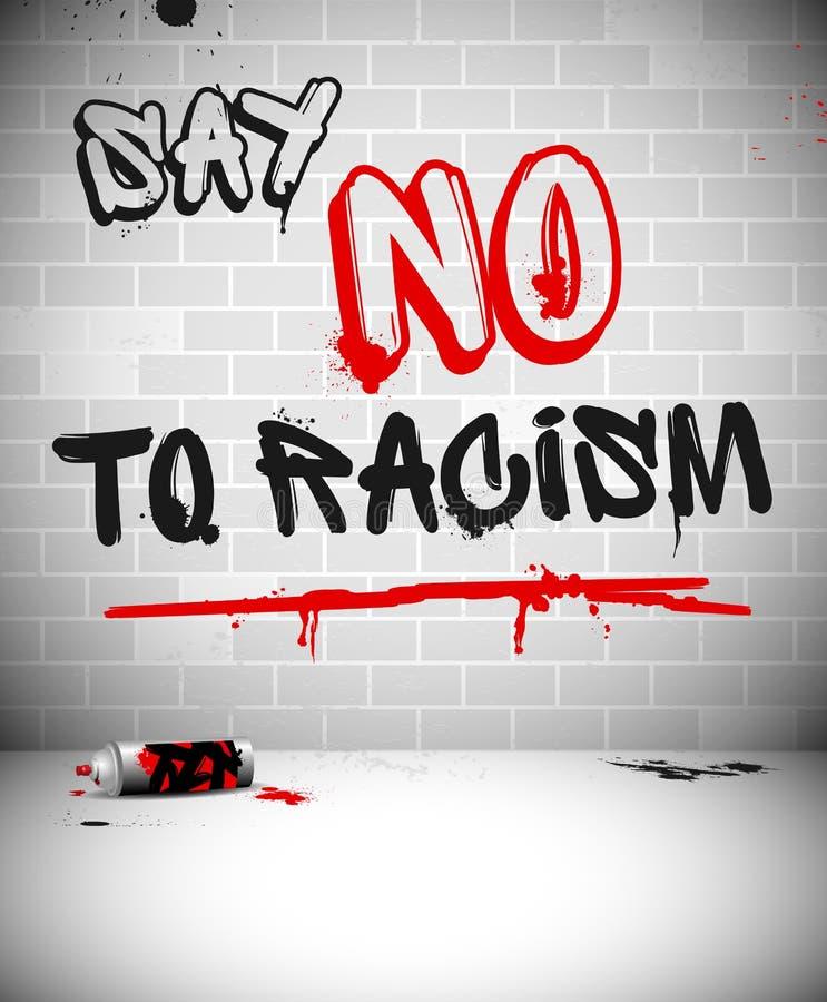 Graffiti auf Backsteinmauer - LEHNEN Sie RASSISMUS ab stock abbildung