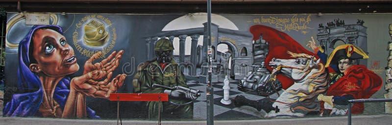 Graffiti auf der Straße in Mailand lizenzfreie stockbilder