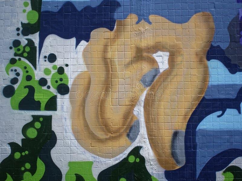 Graffiti auf der Wand im Sommer lizenzfreies stockfoto