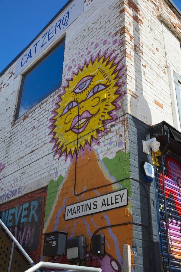 Graffiti auf Martin Street weg vom Humber-Straßen-Obstmarkt, Kingst lizenzfreie stockfotos