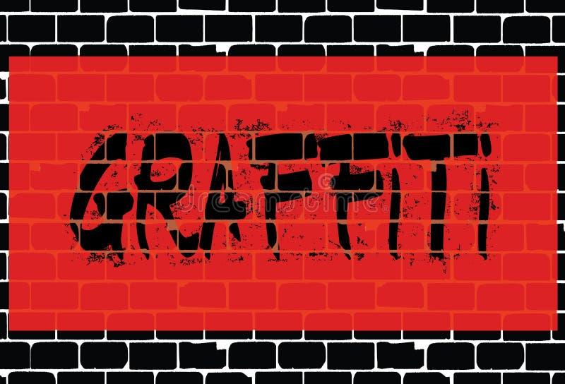 Graffiti auf schwarzer Backsteinmauer vektor abbildung