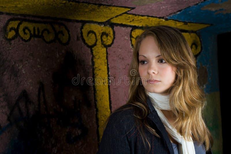 Graffiti Backdrop Portrait Stock Photo