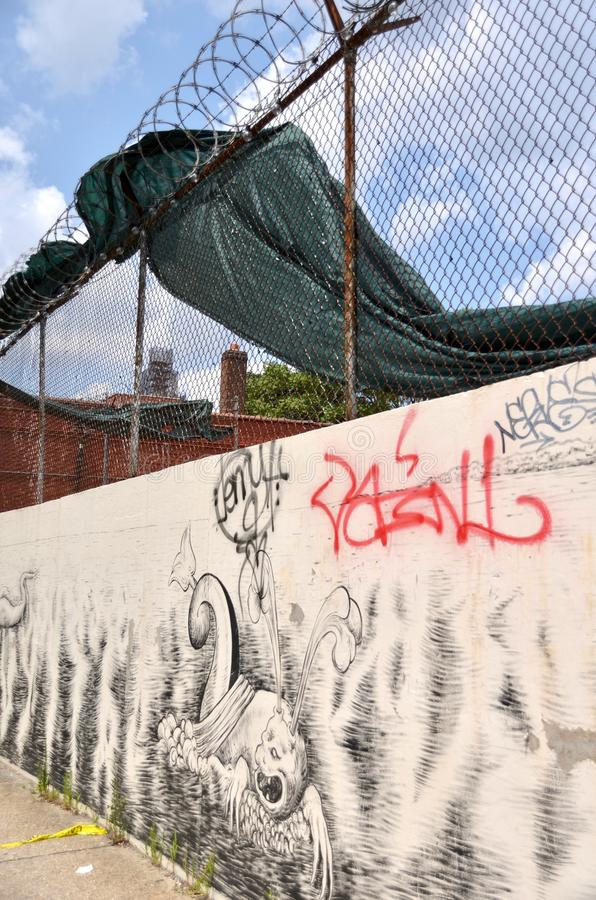 Graffiti and Barbed Wire stock images