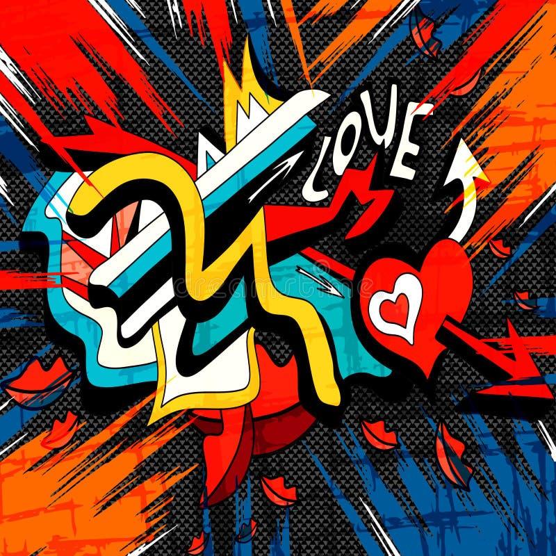 Graffiti barwili geometrycznych przedmioty na czarnym tle ilustracji
